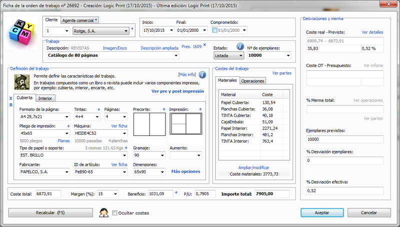 Print estimating and management software for the graphic arts Logic Print